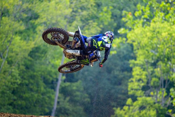 Justin Barcia jumping motorcycle at Ironman Race