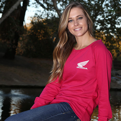 women wearing pink Honda crew sweatshirt