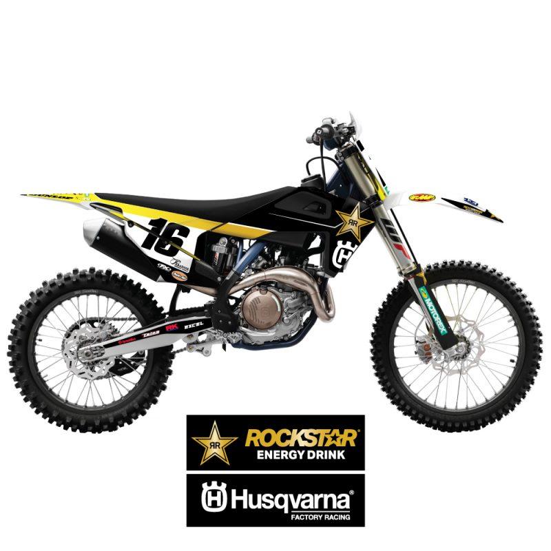 2021 Rockstar Husqvarna Team Graphic kit on bike