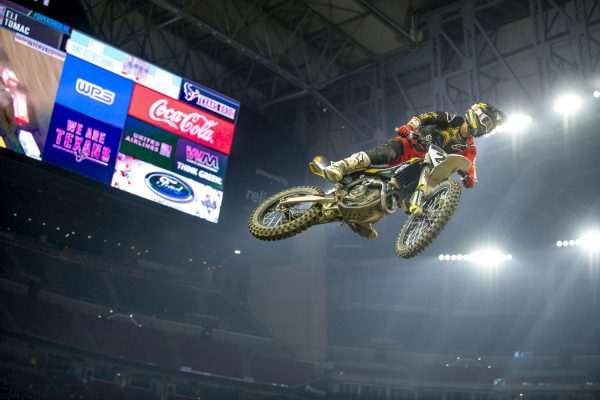 Jason Anderson racing motorcycle at Houston 3 supercross