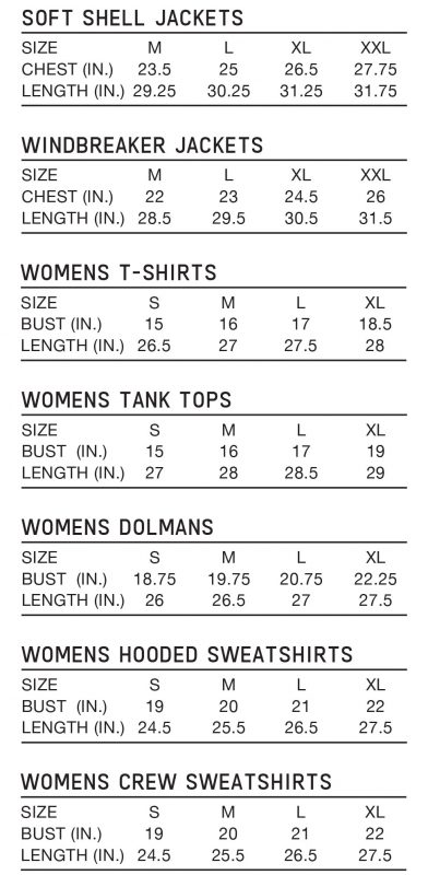 Outerwear and Womens size chart