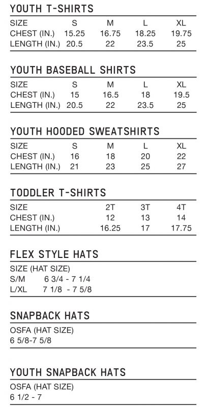 Youth and Hat Size Chart